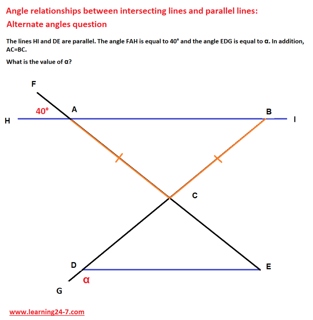Angle relationships between intersecting lines and parallel lines question