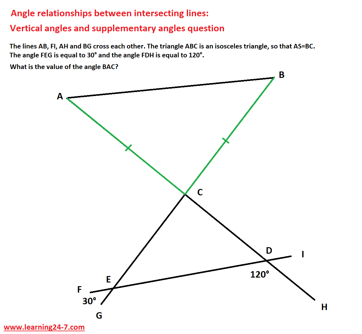 Angle relationships between intersecting lines