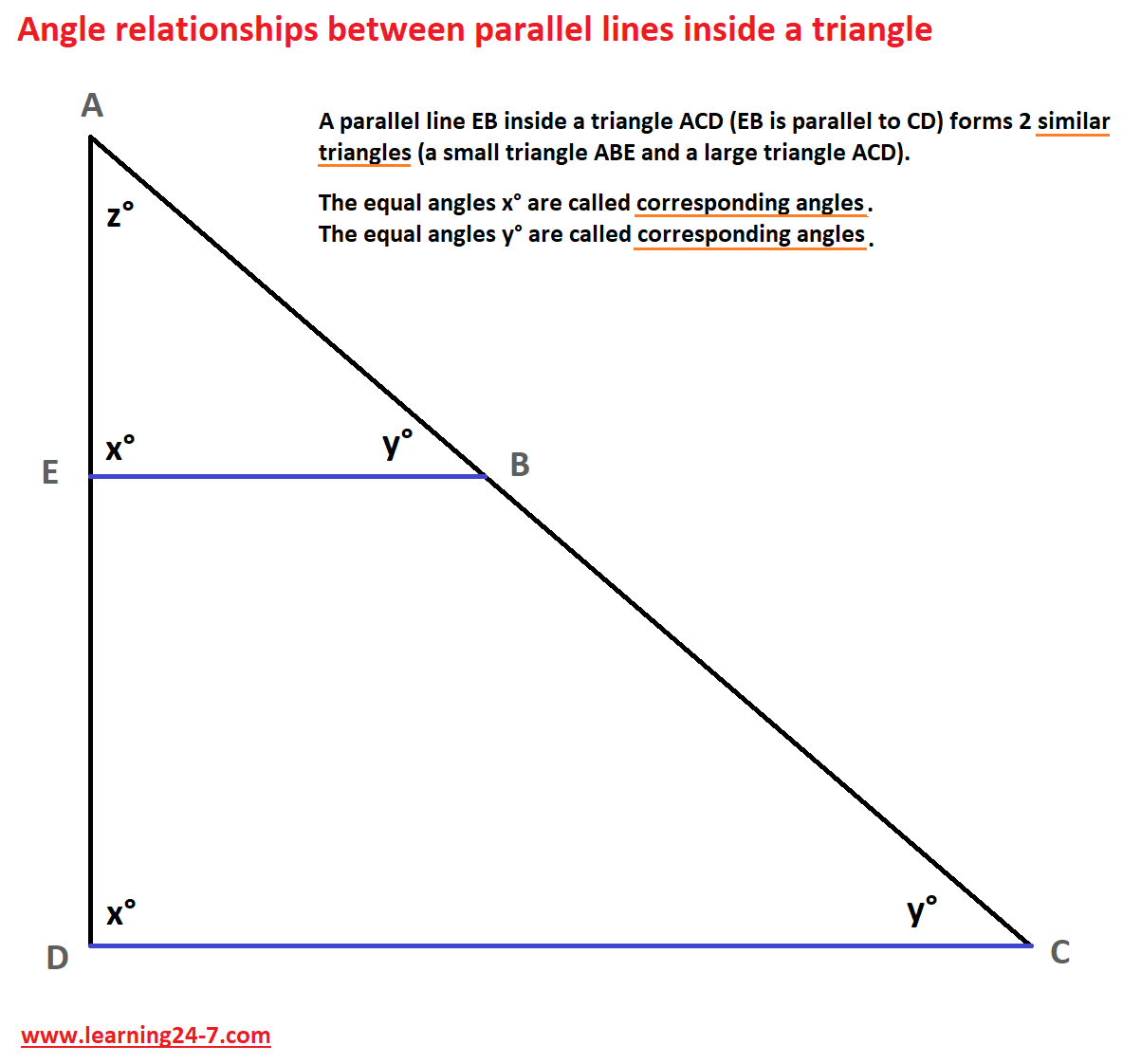 Angle relationships between parallel lines inside a triangle- corresponding angles