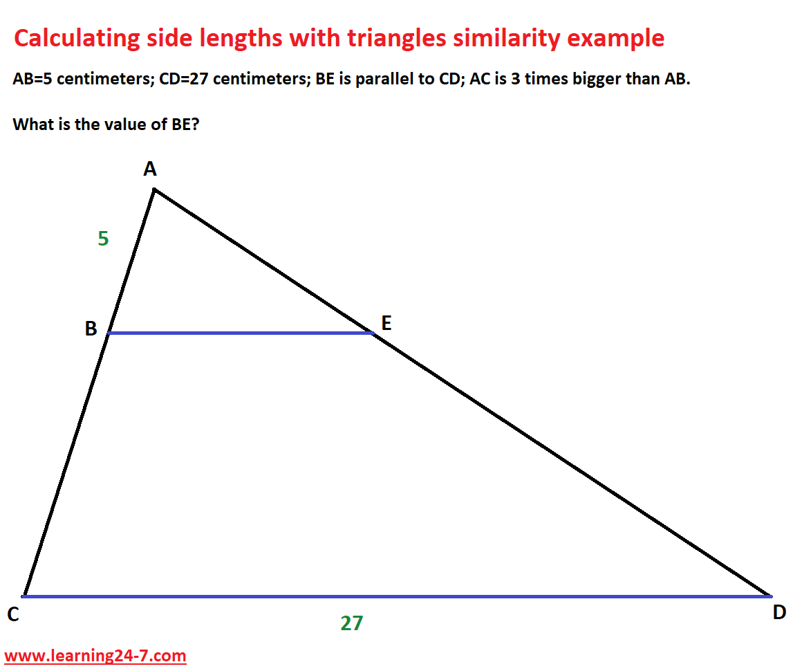 An example- Calculating side lengths with triangles similarity