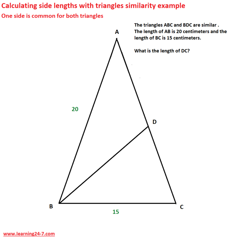 Example -calculating side lengths with triangles similarity when one side is common for both triangles