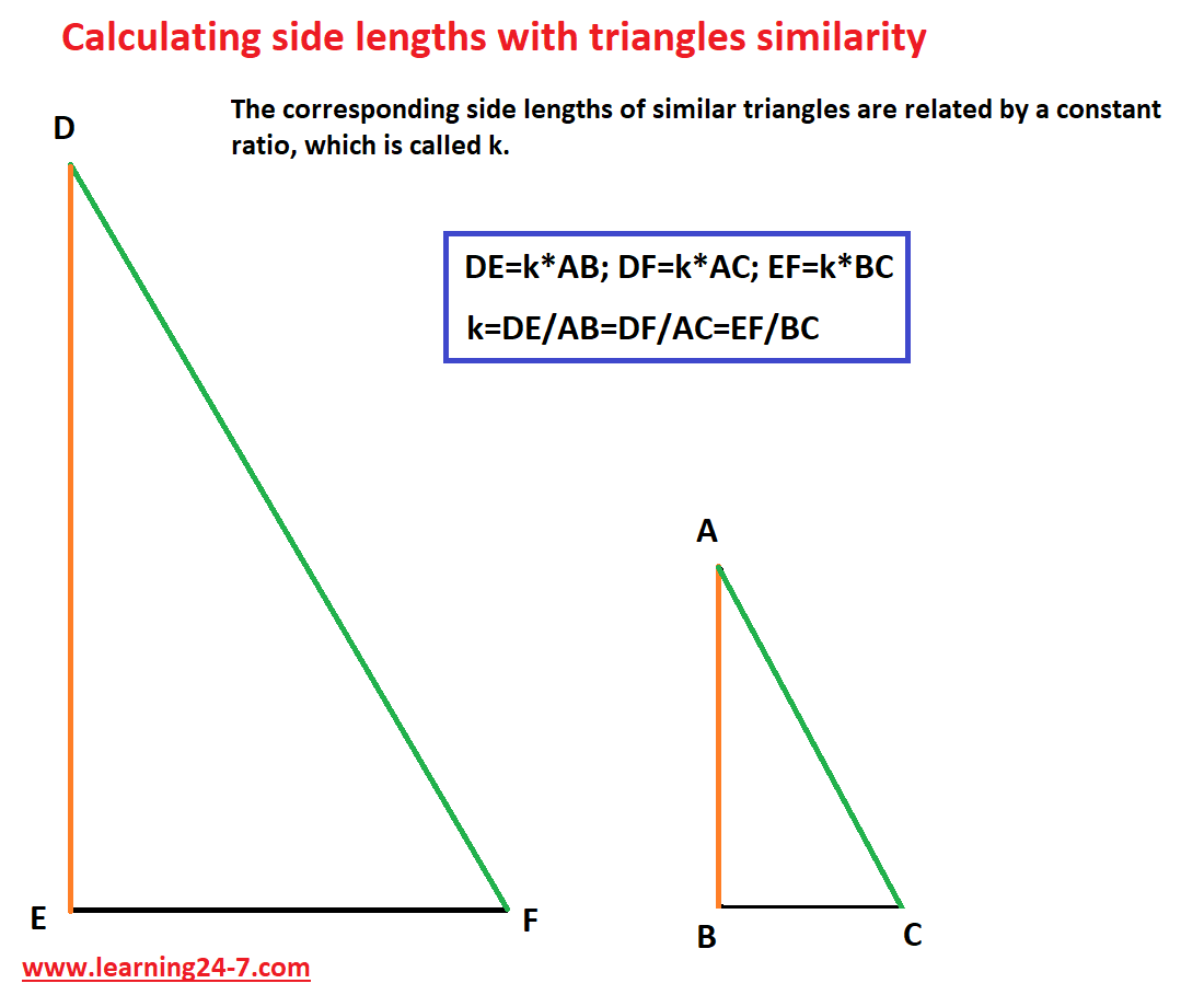 Calculating side ratio with triangles similarity