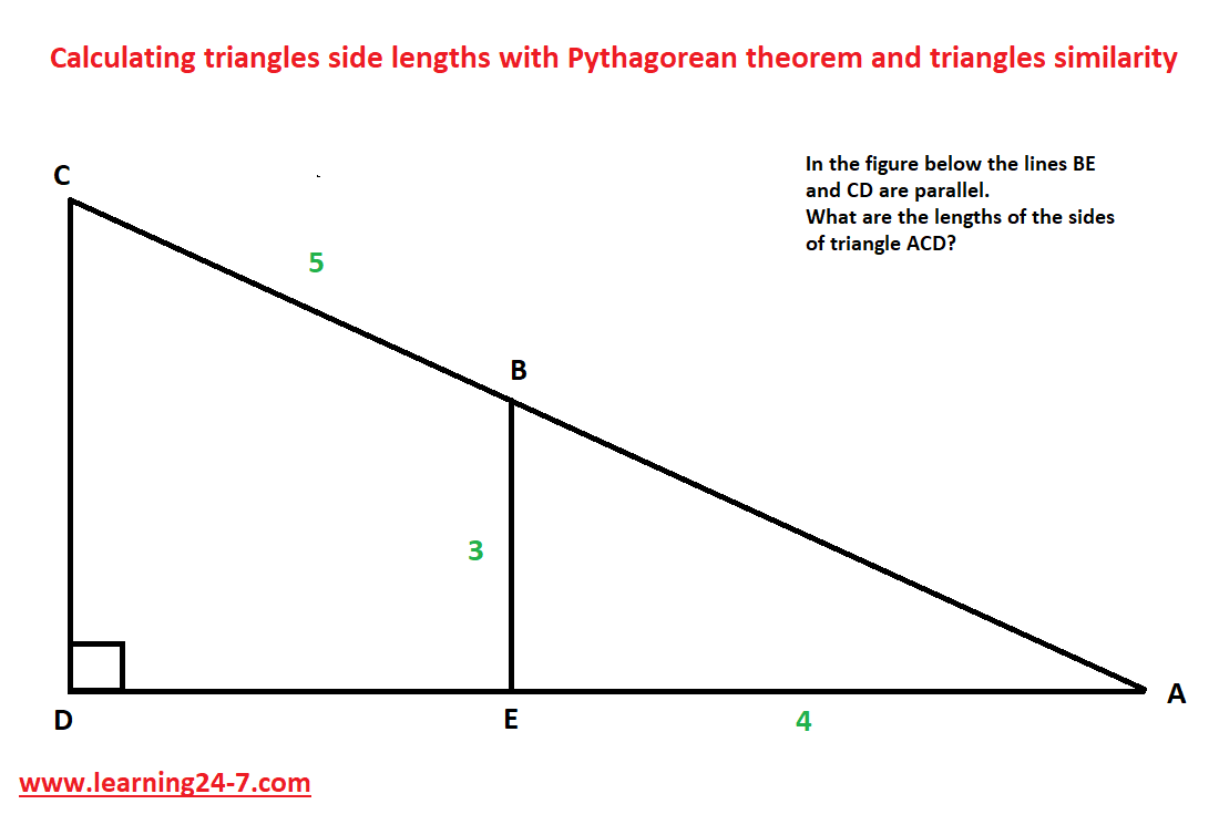 Calculating right triangles side lengths
