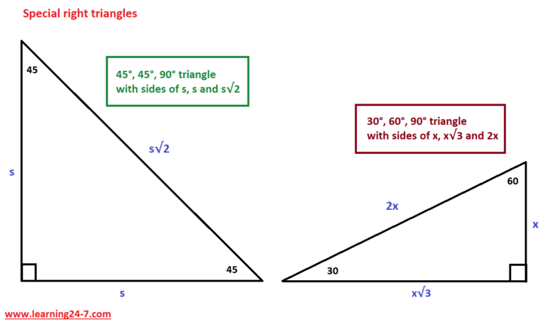 Two special right triangles are 30°, 60°, 90° triangle and 45°, 45°, 90° triangle.