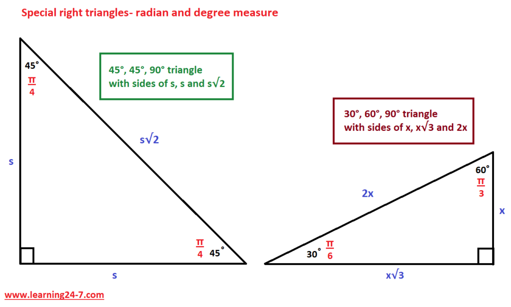 Special right triangles radian and degree values