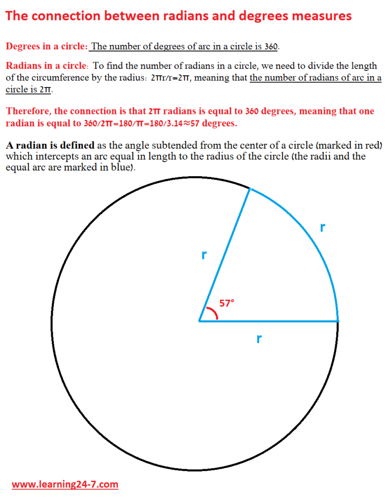 The connection between radians and degrees